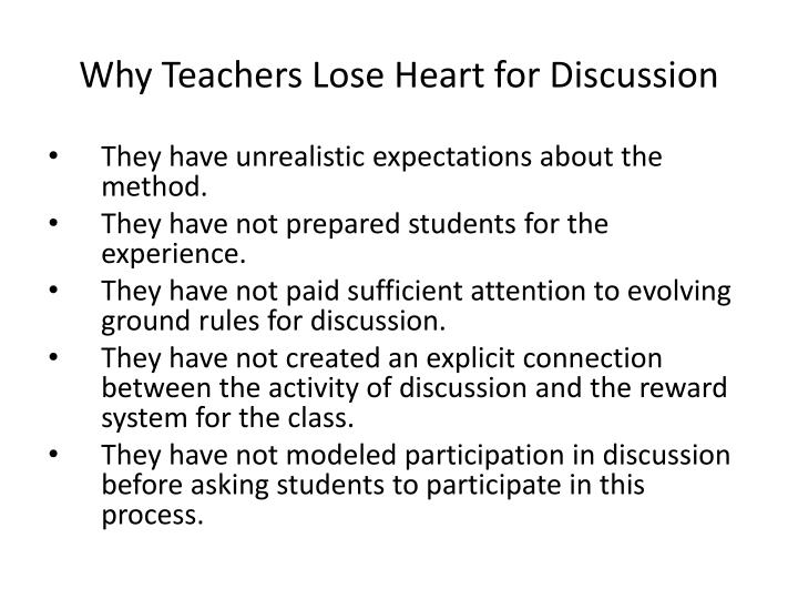 Why Teachers Lose Heart for Discussion