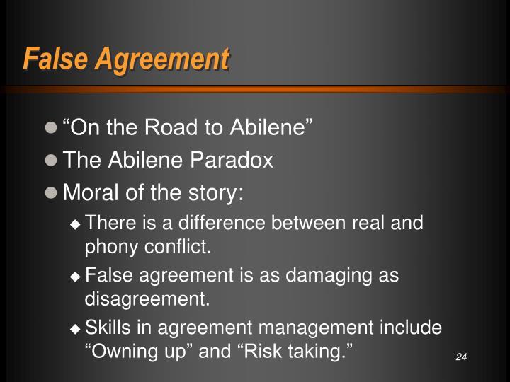 False Agreement