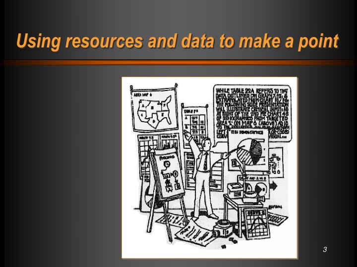 Using resources and data to make a point