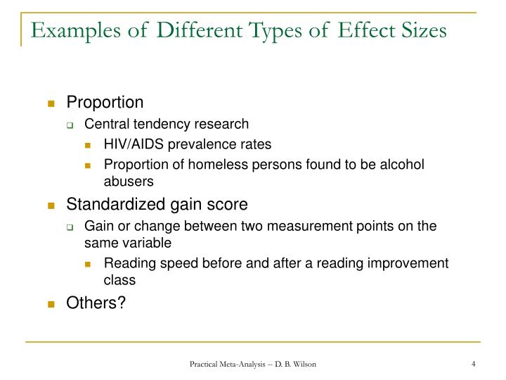 Examples of Different Types of Effect Sizes