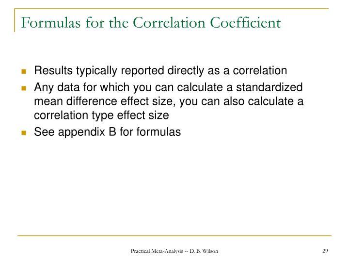 Formulas for the Correlation Coefficient