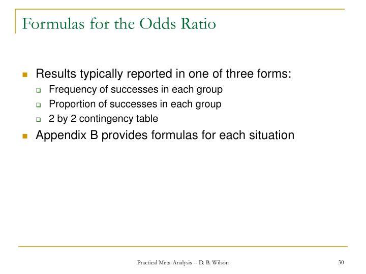 Formulas for the Odds Ratio