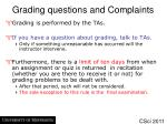 grading questions and complaints