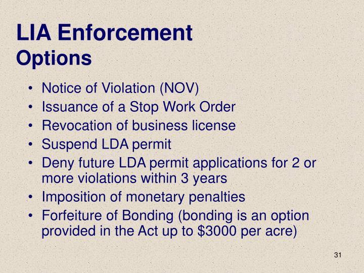 LIA Enforcement