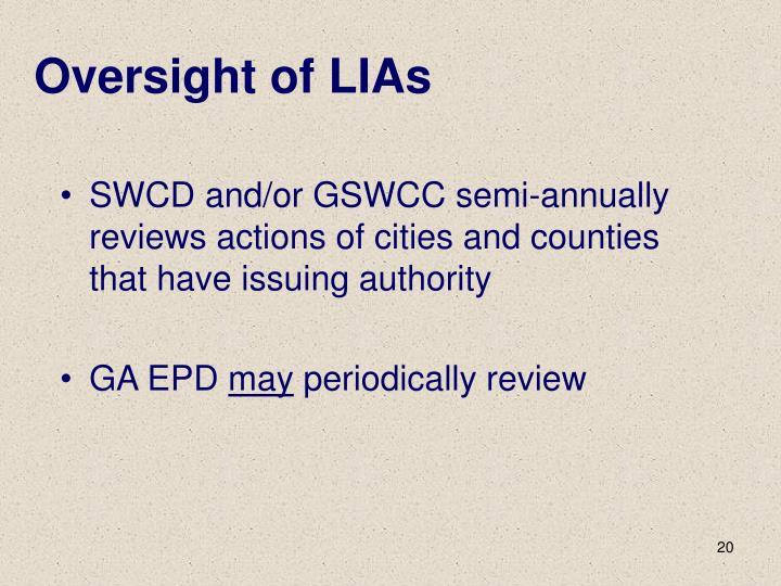Oversight of LIAs