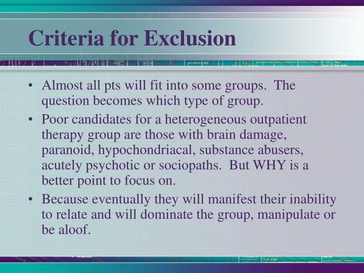 Criteria for Exclusion