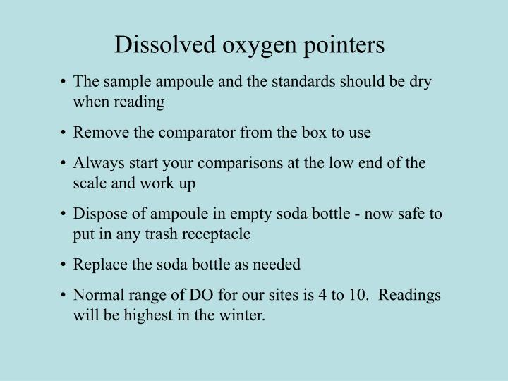 Dissolved oxygen pointers