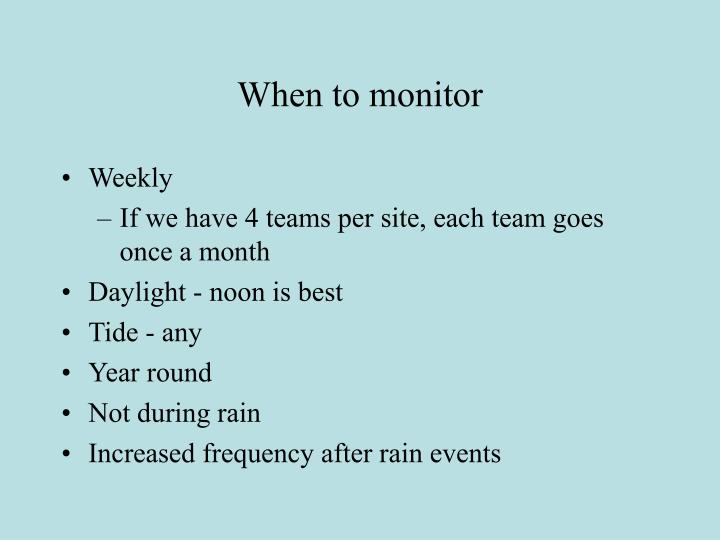 When to monitor