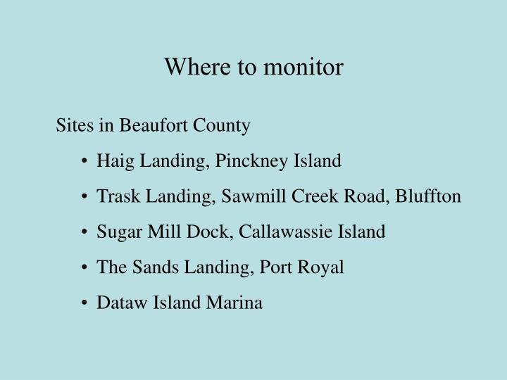 Where to monitor