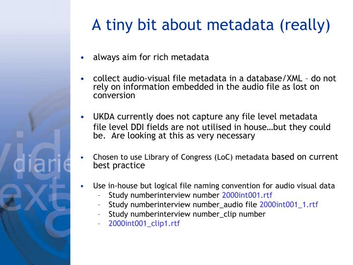 A tiny bit about metadata (really)