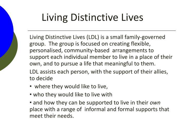 Living distinctive lives1