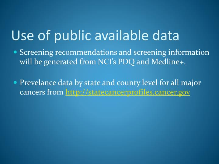Use of public available data