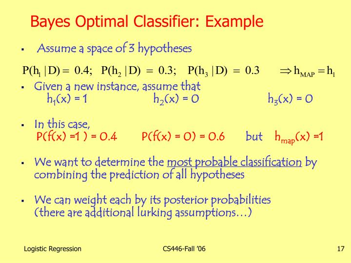 Bayes Optimal Classifier: Example