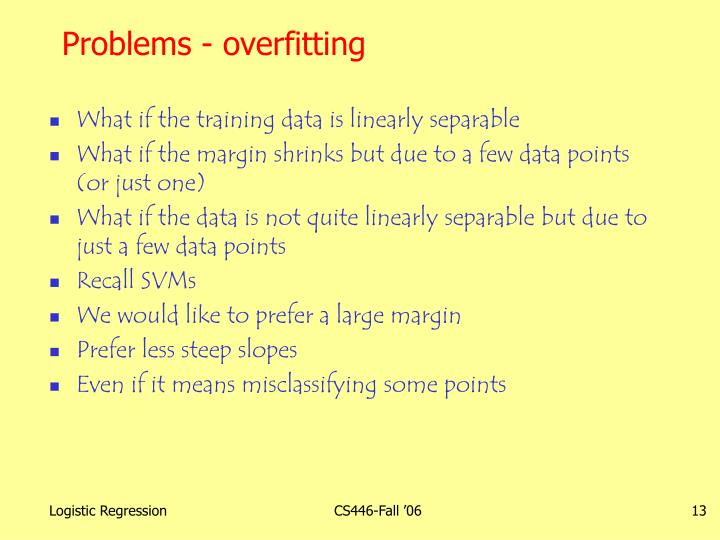 Problems - overfitting