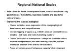regional national scales