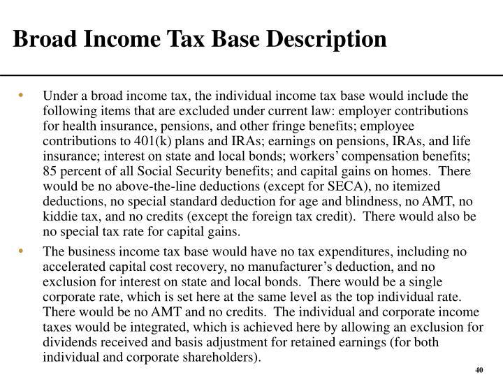 Broad Income Tax Base Description