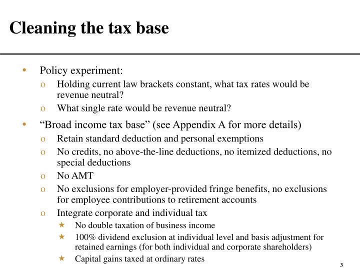 Cleaning the tax base