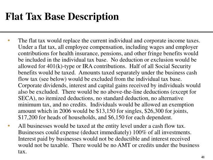 Flat Tax Base Description