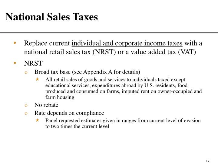 National Sales Taxes