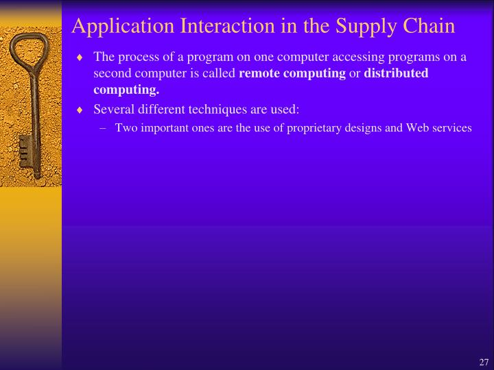 Application Interaction in the Supply Chain