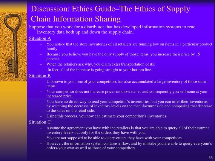 Discussion: Ethics Guide–The Ethics of Supply Chain Information Sharing