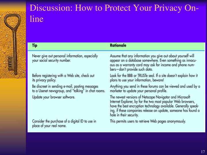 Discussion: How to Protect Your Privacy On-line