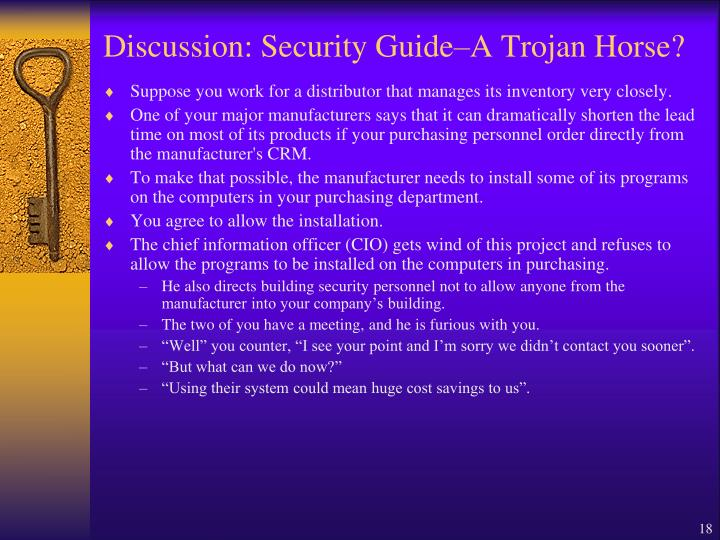 Discussion: Security Guide–A Trojan Horse?