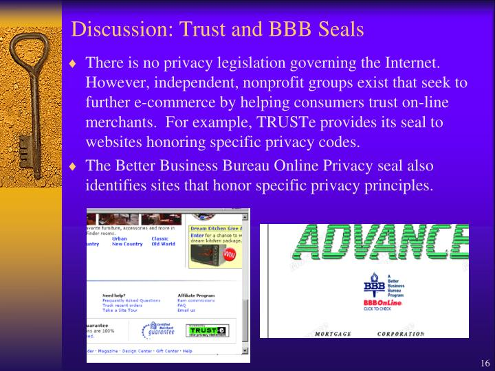 Discussion: Trust and BBB Seals