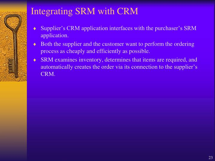 Integrating SRM with CRM