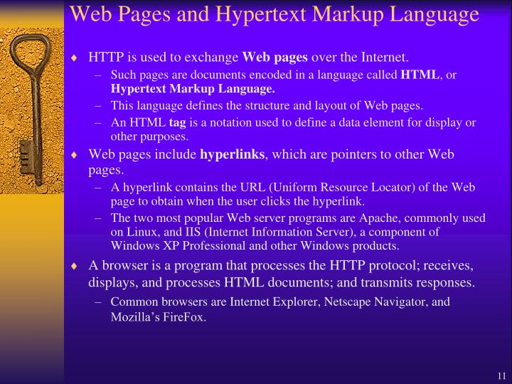 Web Pages and Hypertext Markup Language
