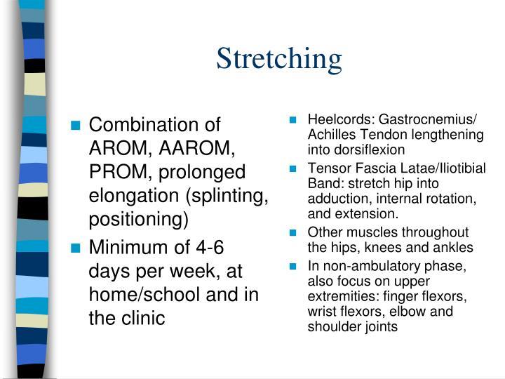 Combination of AROM, AAROM, PROM, prolonged elongation (splinting, positioning)
