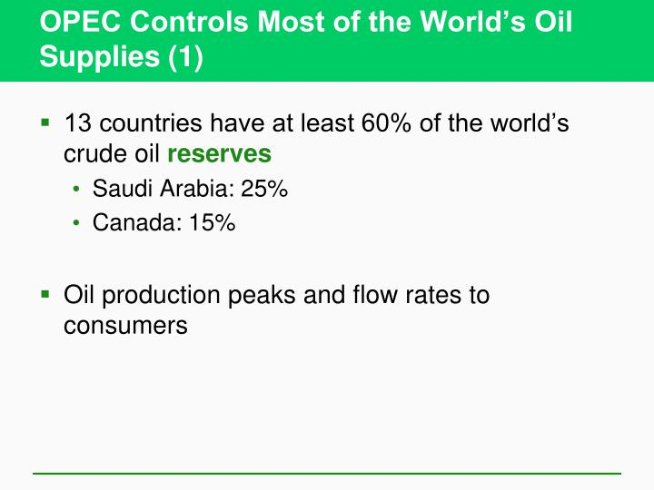 OPEC Controls Most of the World's Oil Supplies (1)