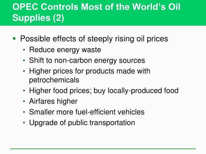 OPEC Controls Most of the World's Oil Supplies (2)