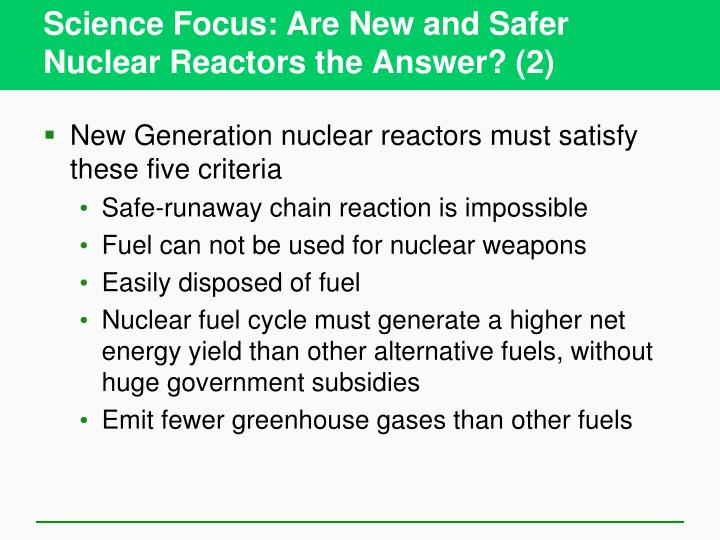 Science Focus: Are New and Safer Nuclear Reactors the Answer? (2)