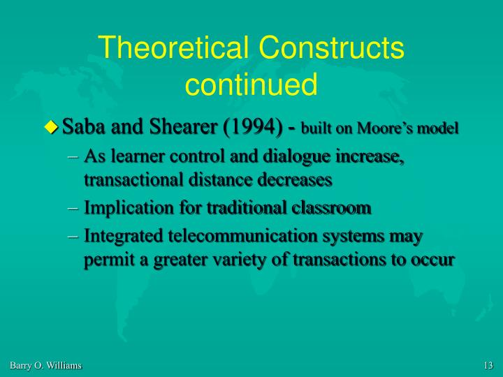 Theoretical Constructs continued