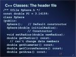 c classes the header file