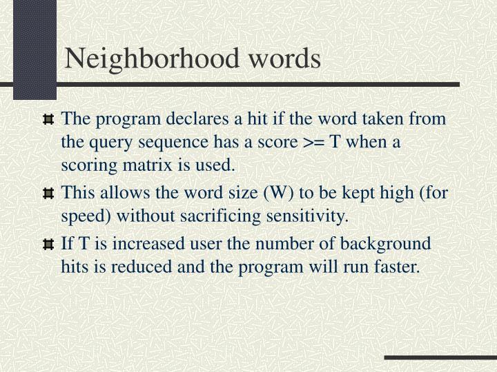 Neighborhood words
