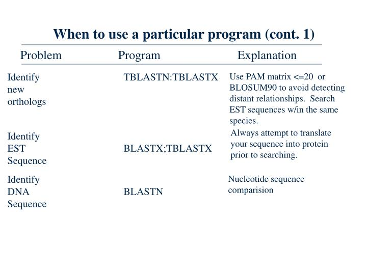 When to use a particular program (cont. 1)