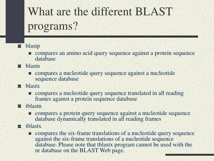What are the different BLAST programs?