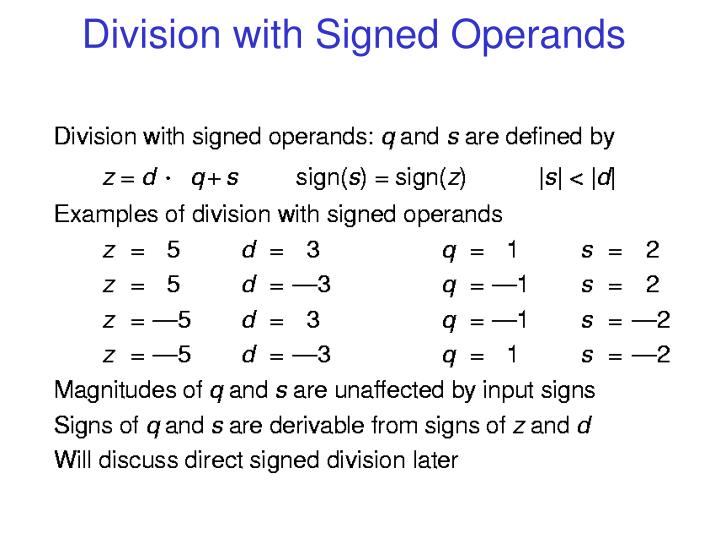 Division with Signed Operands
