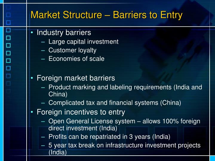 Market Structure – Barriers to Entry