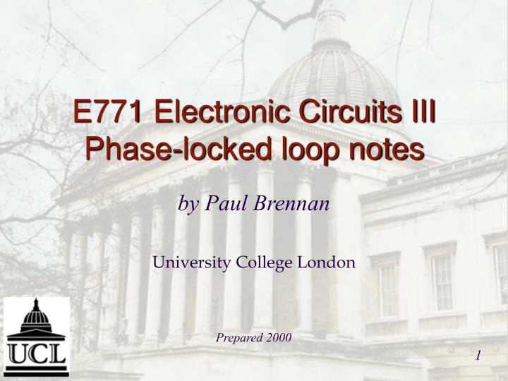 E771 electronic circuits iii phase locked loop notes