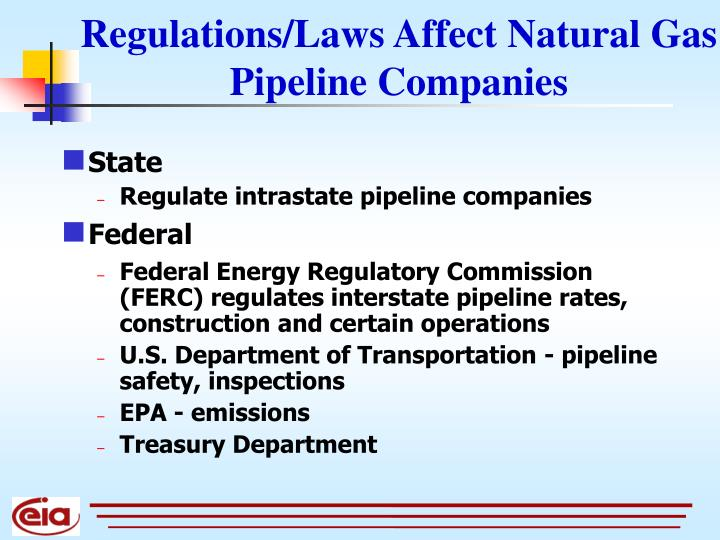 Regulations/Laws Affect Natural Gas Pipeline Companies