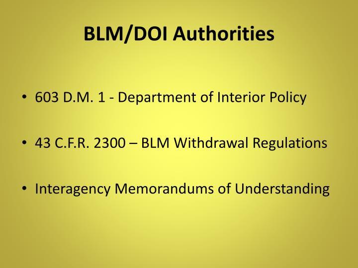 BLM/DOI Authorities