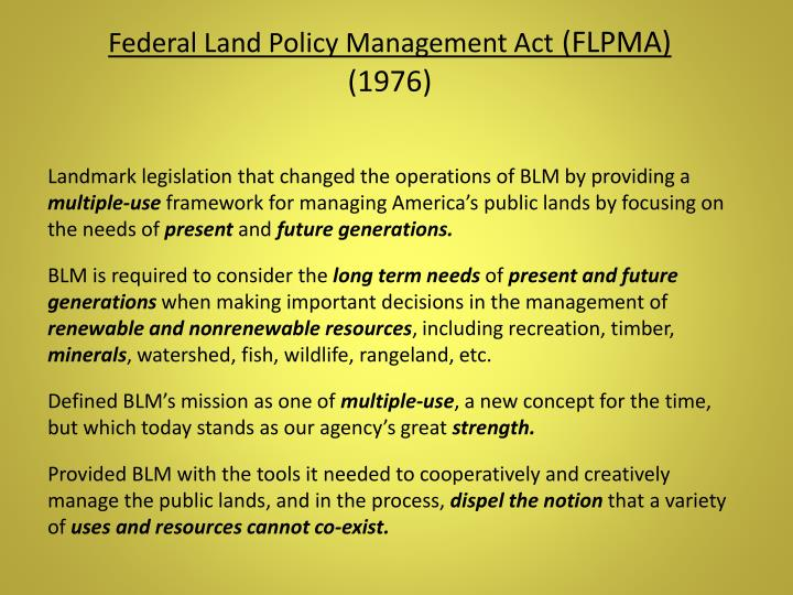Federal Land Policy Management Act