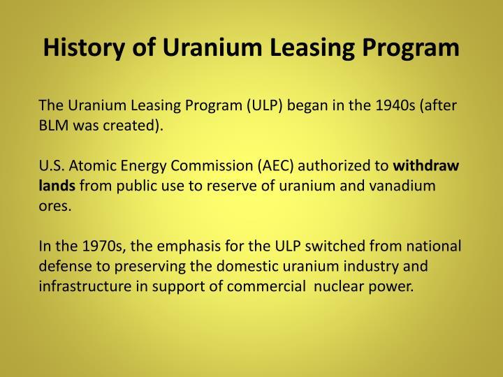 History of Uranium Leasing Program