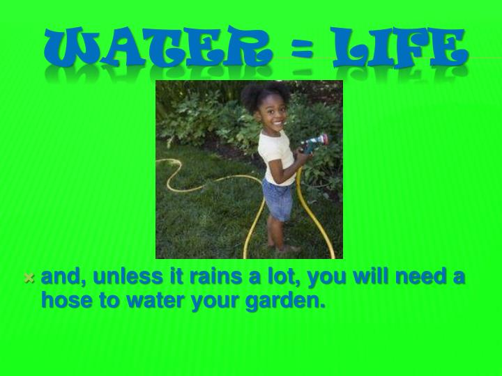 and, unless it rains a lot, you will need a hose to water your garden.