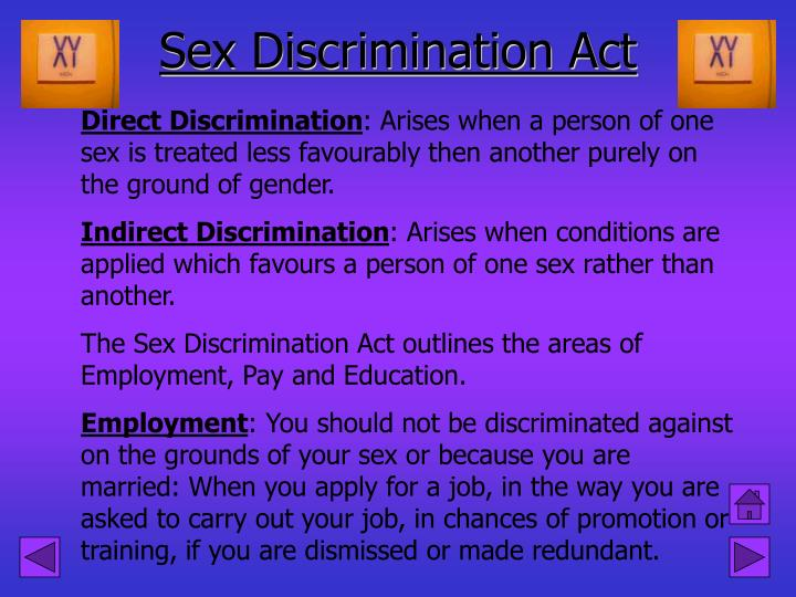 Sex discrimination act 1975 and 1986
