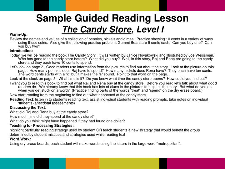 Sample Guided Reading Lesson
