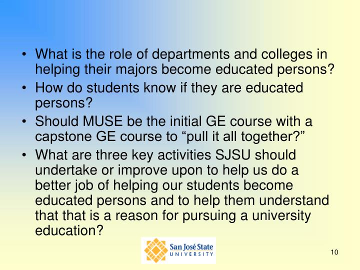 What is the role of departments and colleges in helping their majors become educated persons?